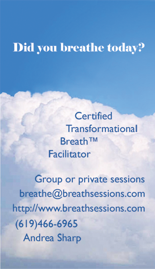 Breath Facilitator Business Card  - Photoshop (vector) - Cloud art from stock images library.