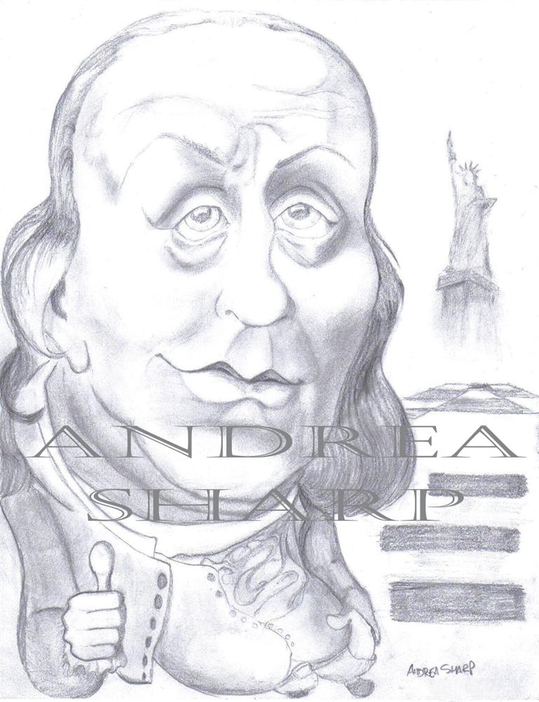 Caricature, Ben Franklin - Pencil
