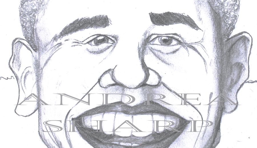 Caricature, Obama CU - Pencil