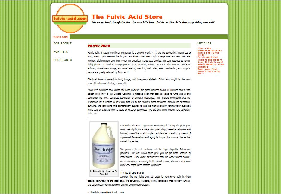 Fulvic-Acid.com - Branding, Logo, and Web Site (WordPress)